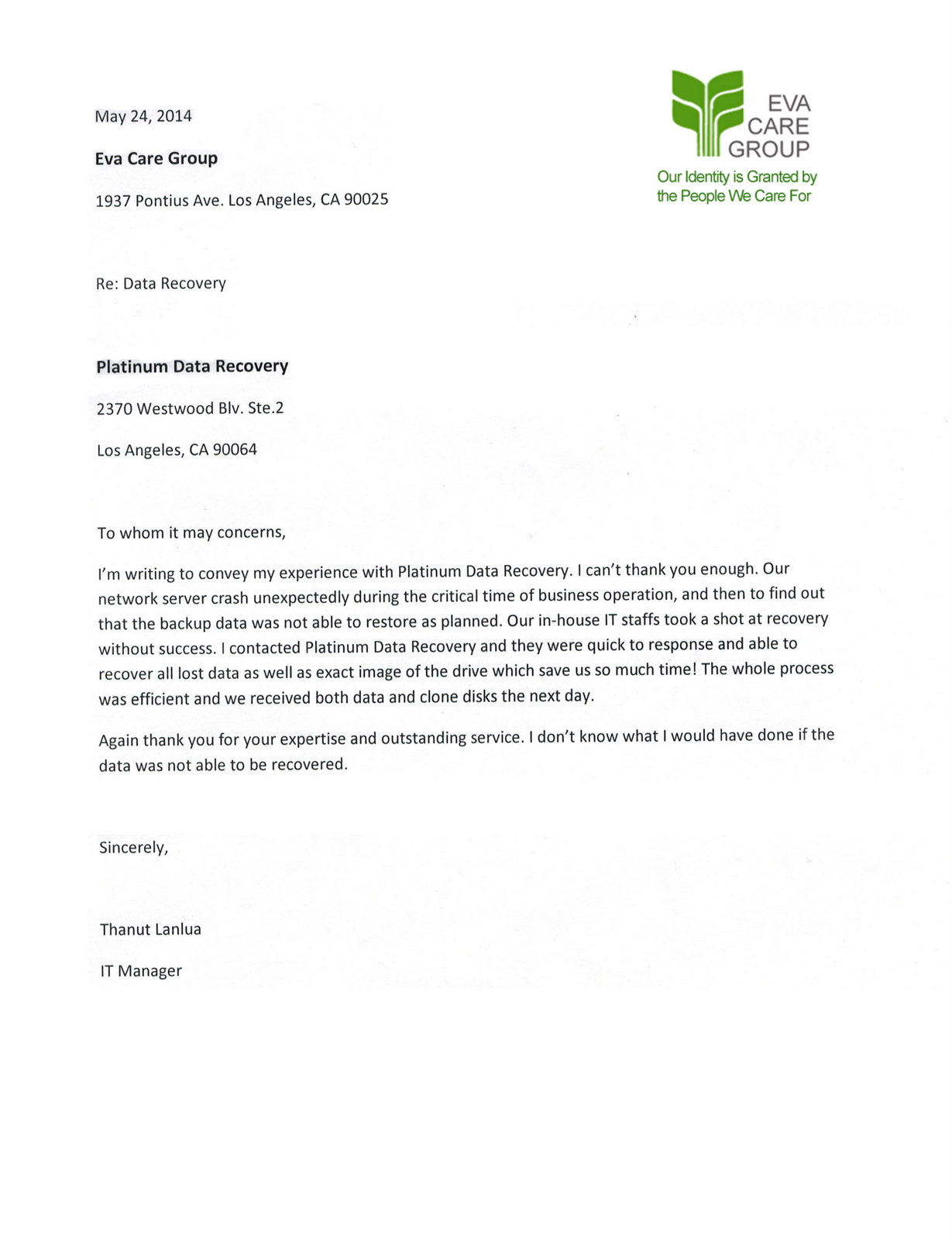 Recovery Care Coordinator Cover Letter